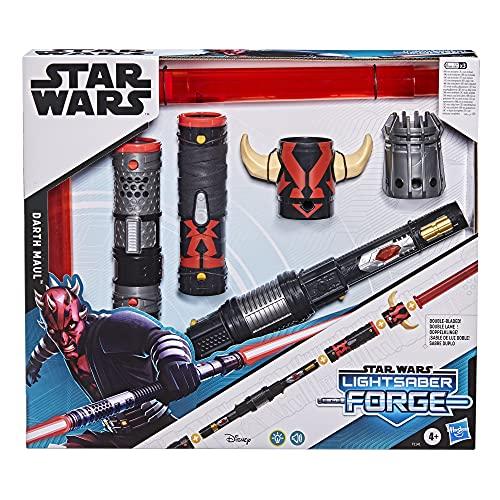 Star Wars- Sable láser Forge Darth Maul de Doble Hoja electrónico Rojo Juego de rol, niños de 4 años en adelante, Multicolor (Hasbro F1141)