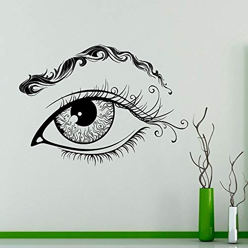 Ojos Cejas Vinilo Tatuajes de Pared pestañas Maquillaje salón de Belleza Moda niñas Dormitorio decoración Interior 57x80 cm
