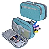Large Capacity Pencil Case Pen Case Pencil Bag Pouch Holder <span class='highlight'><span class='highlight'>Travel</span></span> Cosmetic Bag with Big Compartments for Boys Girls Middle High School Adults and Office <span class='highlight'>Supplies</span>, Light Blue