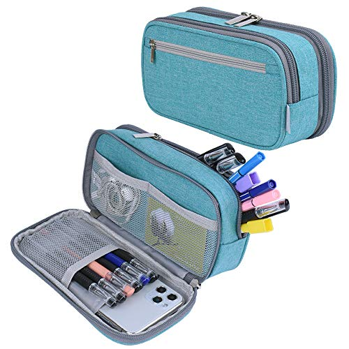 Pencil Case, Large Capacity Pencil Bag Pouch Pen Case Pencil Marker Holder Stationery Organizer with Multi Zipper Compartments for Boys Girls Middle High School Adults and Office, Light Blue