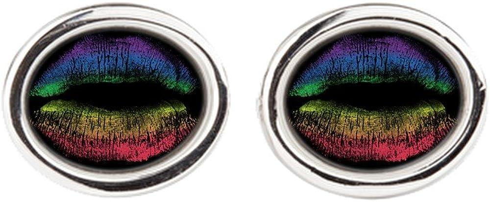 Cufflinks (Oval) Gay Pride Flag Rainbow Lips