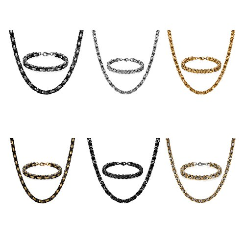JewelryWe Schmuck 6 Edelstahl Ketten Sets von Halsketten und Armketten für Herren Silber schwarz Gold Armbändern 8mm breit und 21,5 cm für Armband, 26 Zoll für Halskette
