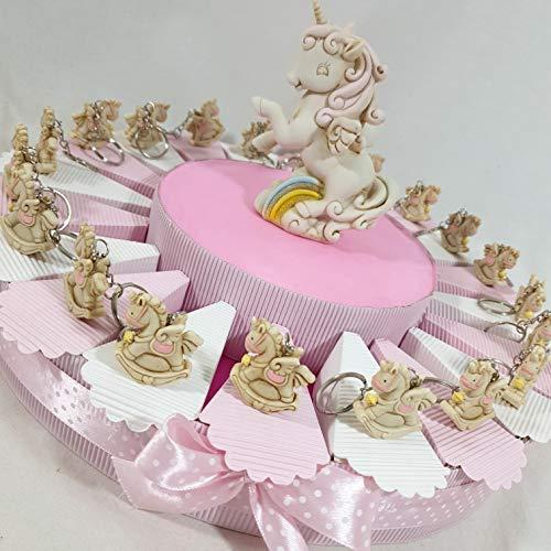 Torta bomboniera Unicorno Dondolo Portachiavi e Centrale Unicorno + Confetti Rosa Cioccolato crispo (Torta 60 fette 4PIANI)