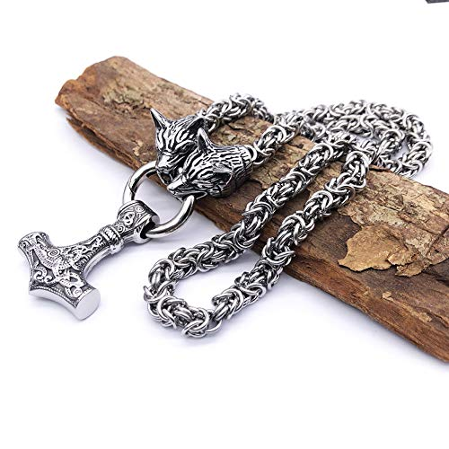 Viking Men's Amulet Thor's Hammer Mjolnir Pendant Necklace,Norse Odin Wolf Head Titanium Steel Solid Byzantine King Silver Chain Cord,Handmade Mythology Infidels Compass Vegvisir Jewelry Gift