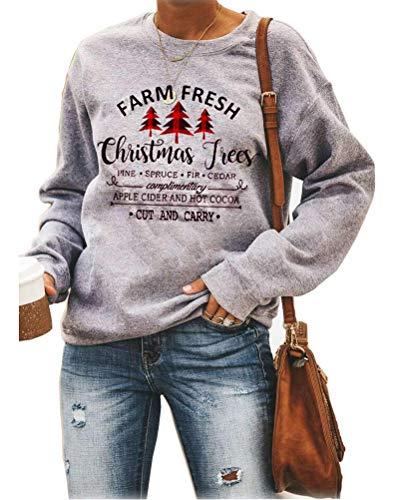 ORANDESIGNE Damen Sweatshirt Winter Weihnachten Langarmshirt This is My Christmas Movie Watching Weihnachtspullover mit Rentermuster Xmas Outfit D Grau 40