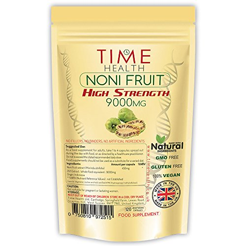 Complément alimentaire à base d'extrait de fruit Noni - 120 capsules - Pour booster votre système immunitaire et une bonne digestion - Possèdes des propriétés anti-inflammatoire - Produit UK