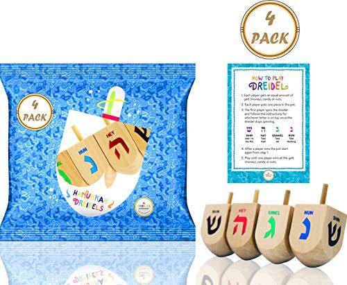 Hanukkah Dreidel 4 Extra Large Wooden Dreidels Hand Painted - Includes Game Instruction Cards! (4-Pack XL Dreidels)