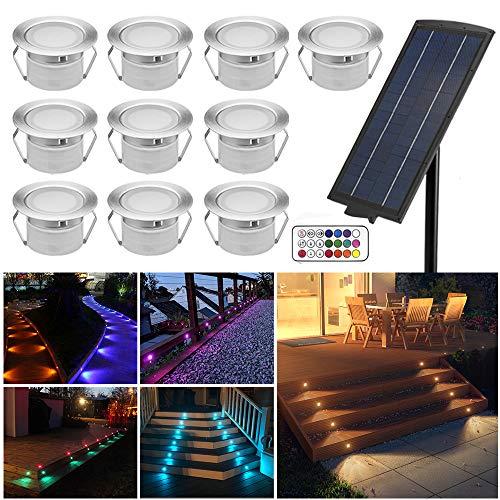 10er Solarleuchte RGBWW LED Bodenstrahler Ø45mm Bodeneinbauleuchten Solarlampen Boden Licht IP65 Wasserdicht DC12V Einbauleuchten Außen Terrasse Küche Garten Lampe