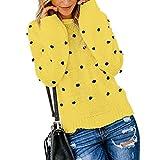 Qiyun O-Neck Pompon Decoración Color sólido suéter Jersey para Wowen (Amarillo S)
