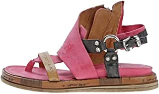 Women's Flat Leather Sandals Summer Open Toe Flip Flop Sandals Casual Retro Gladiator Sandals Comfortable Toe Foot Correction Sandal with Ankle Strap Ladies Beach Shoes,Red,36