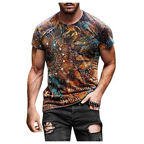 Dasongff Herren 3D Drucken T Shirt Bunter Vintage Männer Tee Oberteile Mode Tie Dye Top Streetwear Shirt Kurzarm Bluse Mens T Shirts Rundhals Kurzarmoberteil Sommer