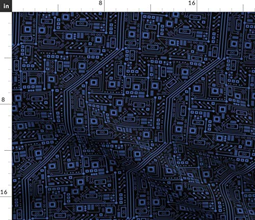 Spoonflower Fabric - Evil Robot Circuit Board Black Blue Science Nerd Computer Electric Printed on Petal Signature Cotton Fabric by The Yard - Sewing Quilting Apparel Crafts Decor