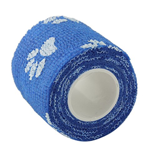 sharprepublic Chat Chien Pet Bandage Auto-Adhésif Bandage Premiers Soins Soins Wrap Non-tissé - Bleu Motif de Patte