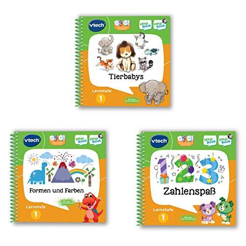 Vtech 80-488904 MagiBook-Lernbuch-Bundle: 3 Bücher der Lernstufe 1 (Tierbabys 3D, Formen und Farben 3D, Zahlenspaß 3D), Lernbuch, Mehrfarbig