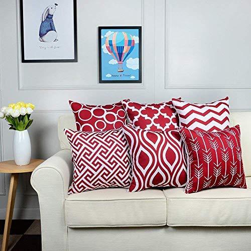LEEDY 6PC/Set Fashion Throw Pillow Covers, Cushion Case Home Decor for Livingroom Sofa Car Bedroom With Invisible Zipper Room Decor