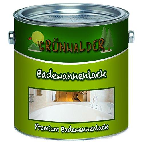 Grünwalder Badewannenlack Badezimmerfarbe Badewannenbeschichtung 2K Speziallack SET Decklack + Grundierung Weiss Grau Beige Schwarz FARBAUSWAHL (1 L, Weiß)