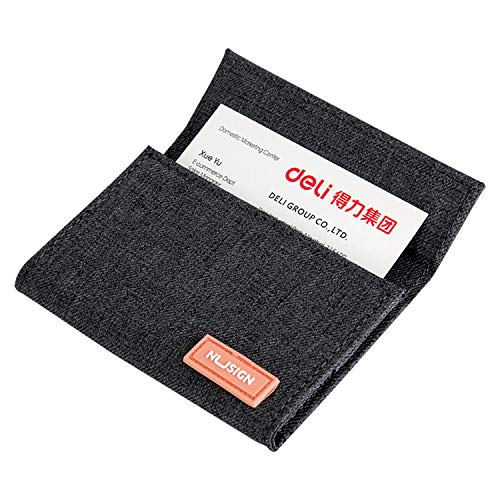 NUSIGN Business Card Holder Credit Card Wallet Business Card Case Fabric Lining Multi Card Case, Business Card Holder Wallet Credit Card ID Case/Holder for Men & Women, Gray