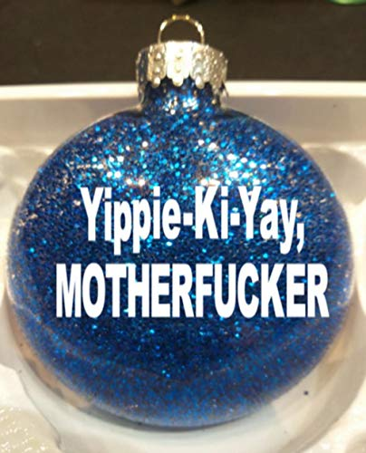 Merch Massacre Die Hard John McClane Eighties Action Movie Yippie-Ki-Yay Motherfucker Blue Glitter Holiday Ornament Glass Disc