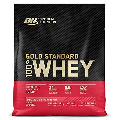 Optimum Nutrition ON Gold Standard 100% Whey Proteína en Polvo, Glutamina y Aminoácidos Naturales, BCAA, Fresa Deliciosa, 154 Porciones, 4.54kg, Embalaje Puede Variar
