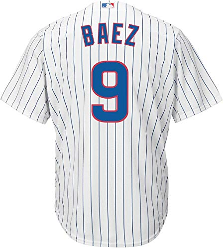 Outerstuff Javier Baez Chicago Cubs #9 White Youth Cool Base Home Replica Jersey (Medium 10/12)