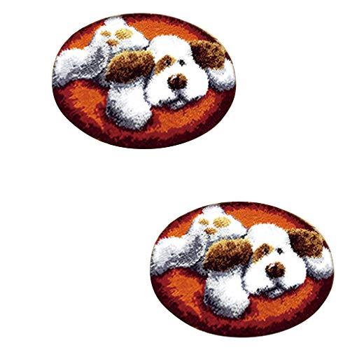 B Baosity 2 Juegos de Ganchos de Pestillo Kits de Alfombras para Perros Encantadores Kits de Alfombras de Gancho con Pestillo Bordado de Cojines para Niños