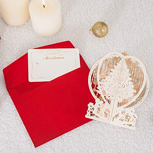 Christmas Cards Pack,There are Gap Years, 3D Crystal Ball, Merry Christmas Holiday Card, Creative Literary Simple Holiday Party Greeting Card Set (1 Set of Crystal Ball)