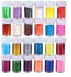 Iseebiz Polvere di Glitter a 15g*24 Colori Decorazione Facciale,Decorazione delle Unghie Artistiche, Fiori Decorativi e Vari Mestieri
