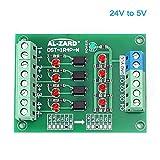 24V to 5V PLC Signal Converter Module, 4 Bit Optocoupler Isolator Maluokasa DST-1R4P-N Converter Board PNP NPN...
