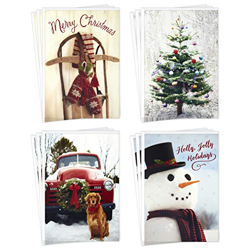 Hallmark Boxed Christmas Cards Assortment, Vintage Red Truck (4 Designs, 12 Cards and Envelopes)