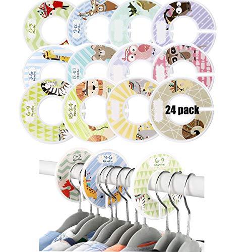 Dancepandas Separadores de Tallas 24PCS Separadores Armario Bebe Divisores de Armarios, Organizar la Ropa por Edad, Talla y Tipo| Regalo de Bebé Ducha Ideal