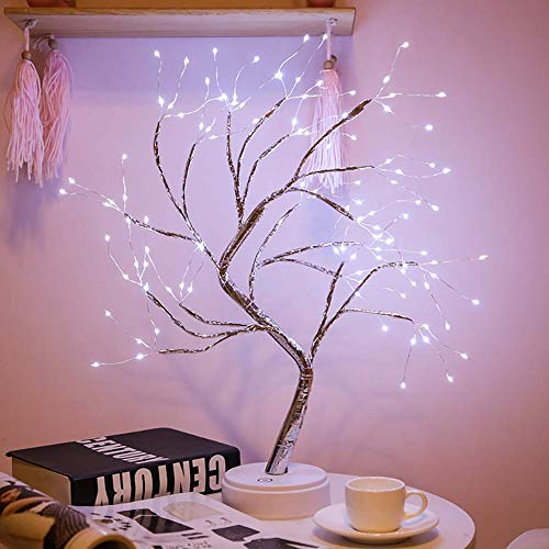 "Aiboria 20"" Lighted Tree Led Bonsai String Light with 108 LED, Artificial Light Tree Battery/USB Operated Tabletop Lamp Decoration for Gift Home Wedding Festival Holiday(Bright White)"