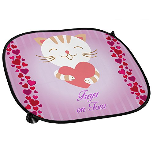 Auto-Sonnenschutz mit Namen Freya und süßem Katzen-Motiv für Mädchen - Auto-Blendschutz - Sonnenblende - Sichtschutz