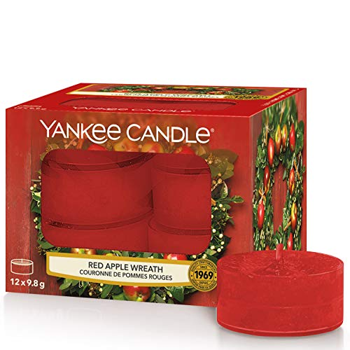 Yankee Candle Tea Light Candele Profumate 12 Pezzi Red Apple Wreath, Cera, Rosso, 9.1x8.8x6.3 cm