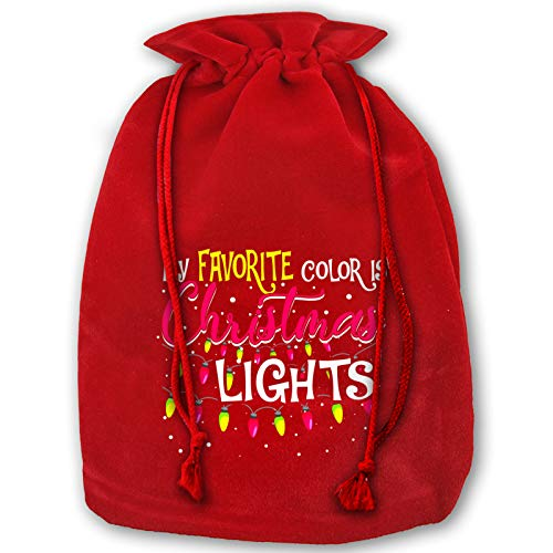Song Of Song My Favorite Color is Christmas Lights Santa Sack Bags Halloween Wrapping Bag with Drawstrings