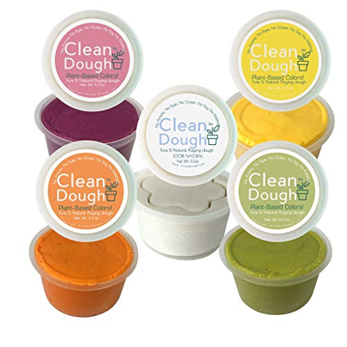 Aroma Dough Clean Dough- Gluten-Free, Soy-Free, Fragrance Free & Dye Free Play Dough Set - Hypoallergenic - Back to School Supplies for Kids - Sensory Play Dough 5 Pack