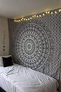Best Marubhumi Tapestry Wall hangings Black and White Hippie Mandala Tapestry Wall Art Collage Dorm Beach Throw Bohemian Tapestry Wall Decor Boho Bedspread, Twin (85 x 55 inch) Review