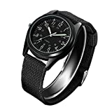 Fashion Nightlight Mens Women Watch Black Nylon Knitted Sports Leisure Quartz Watch for Army,Nurses,Doctors,Students and Medical Professionals with Second Hand