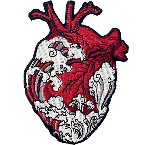 Parche termoadhesivo para la ropa, diseño de Las olas y el corazon