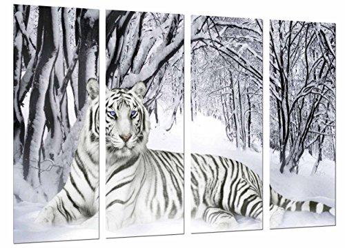 Cuadro Fotográfico Tigre Blanco en Naturaleza Nevada Tamaño total: 131 x 62 cm XXL