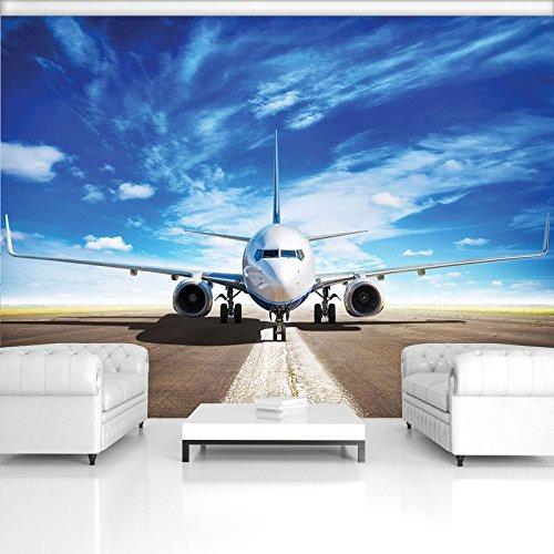 DekoShop Fototapete Flugzeug Wandtapete - P4 (254cm. x 184cm.) Moderne Wanddeko Design Tapete AMD11390P4 Transport Wohnzimmer Schlafzimmer