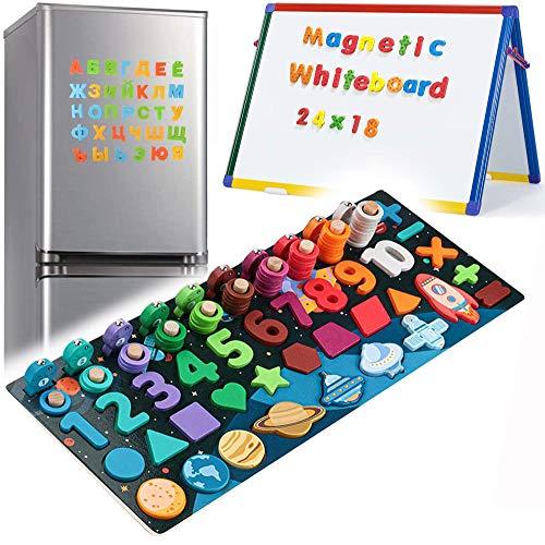 6 en 1 Juego Matematicas Magnéticos de Madera para Chico Juegos Educativos Bebes Magnéticos para Niños de 3 A 8 Años, Niñas, Juguetes Educativos Montessori para Niños, Bloques de Madera Con Patrón