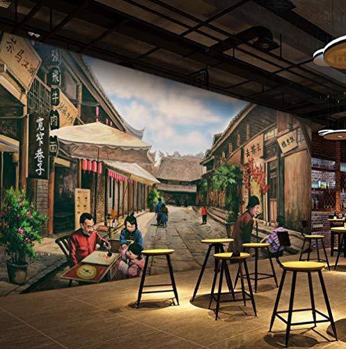 HUATULAI Wandgemälde 3D Hintergrund Retro Nostalgische Breite Und Schmale Gasse Straßenseite Tapete Grill Grill Hot Pot Tapete Restaurant Wandbild-300 * 210Cm