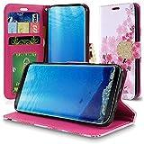 Samsung Galaxy S8 Plus / S8+ SM-G955 PU Leather Wallet Case Designers ID Card Slots Shock Impact Full Body Protection Flip Kickstand Bling case (Sakura Cherry Blossom)