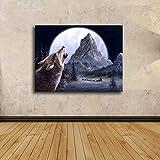 Leinwand Bild,Moonlight Mountain Peak Tier Wolf, Poster Und