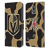 Head Case Designs Licenciado Oficialmente NHL Patrón de Vaca Caballeros Dorados de Vegas Carcasa de Cuero Tipo Libro Compatible con Samsung Galaxy S5 / S5 Neo
