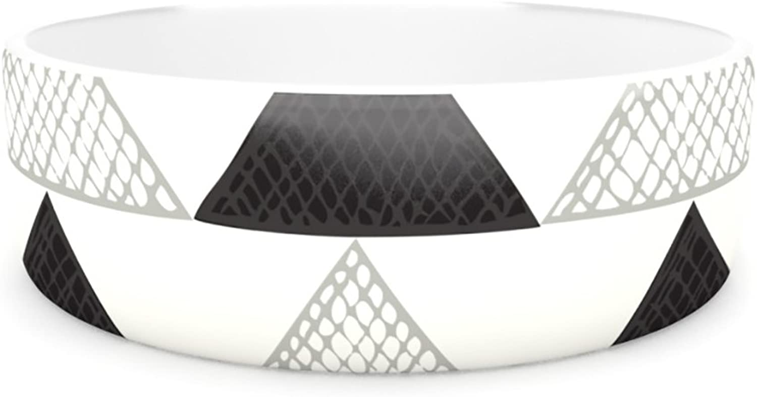 Kess InHouse Laurie Baars Textured Triangles  Pet Bowl, 7Inch, Geometric Abstract