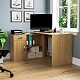 Vida Designs Longton Adjustable, L-Shaped Computer Desk with Shelves, Drawer and Door, Home Office PC/Laptop Table, Gaming Study Workstation, Furniture, Pine