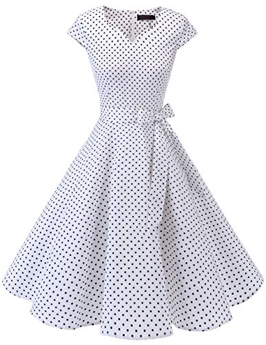 Dresstells Vintage 50er Swing Party kleider Cap Sleeves Rockabilly Retro Hepburn Cocktailkleider White Small Black Dot S