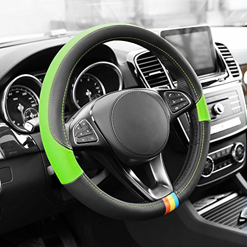 FH Group FH2008GREEN Full Spectrum Genuine Leather Steering Wheel Cover, 1 Pack