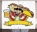 ABAKUHAUS Mexicano Cortinas, Hombre con una Cerveza y Taco, Sala de Estar Dormitorio Cortinas Ventana Set de Dos Paños, 280 x 225 cm, Multicolor